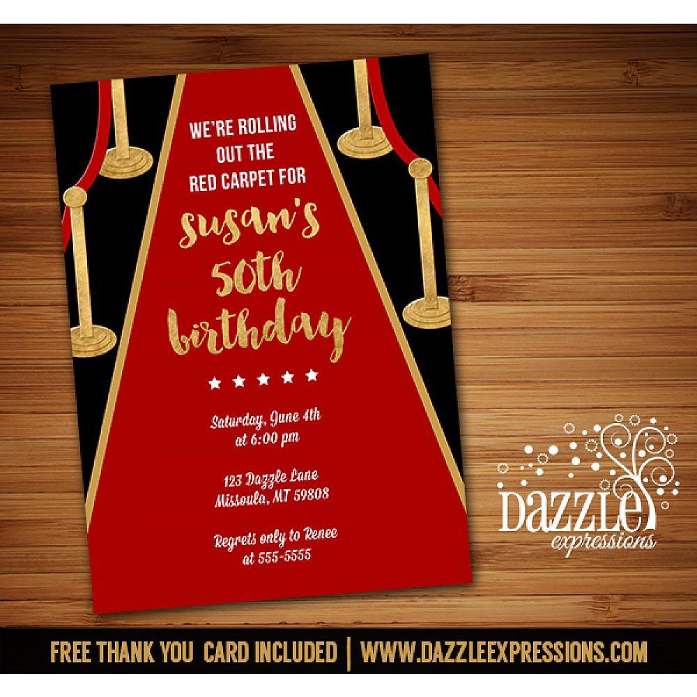 Printable Hollywood Red Carpet Birthday Invitation