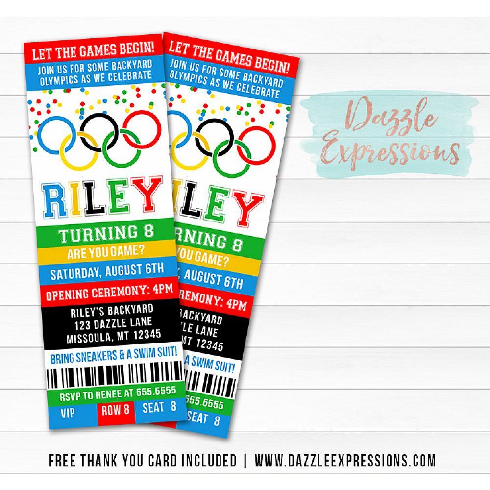 Printable Kids Olympic Games Birthday Invitation Free Thank You