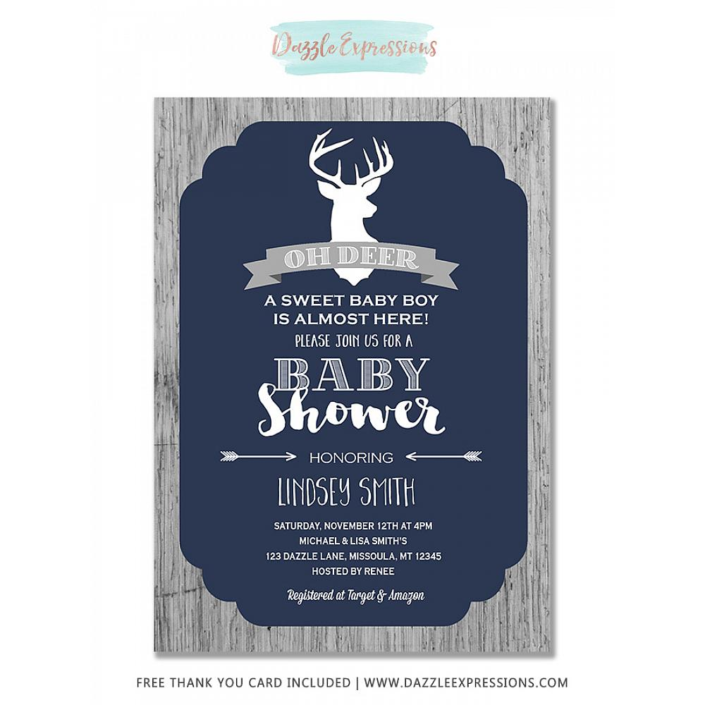 Printable Rustic Oh Deer Baby Shower Invitation Wood Free Thank