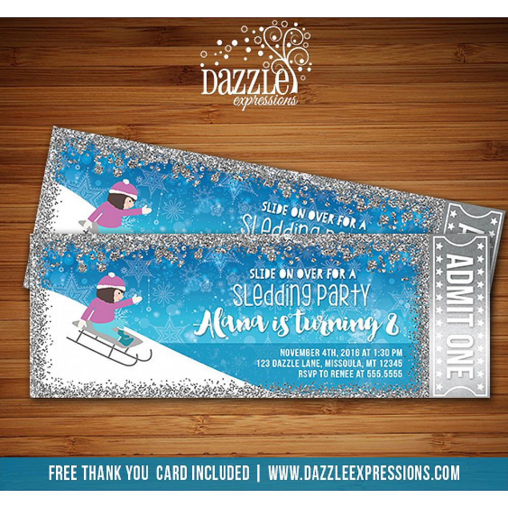 Printable Sledding Party Glitter Ticket Birthday Invitation Girls Winter