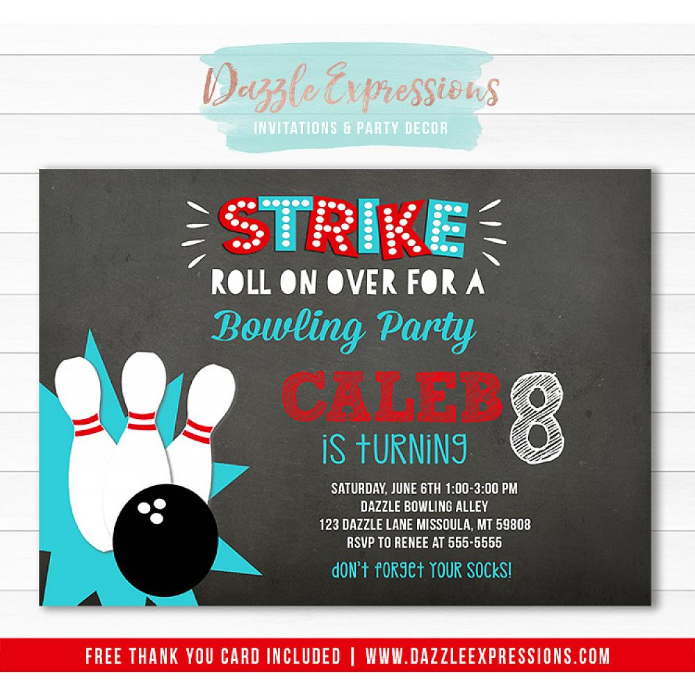 Bowling Chalkboard Invitation 1