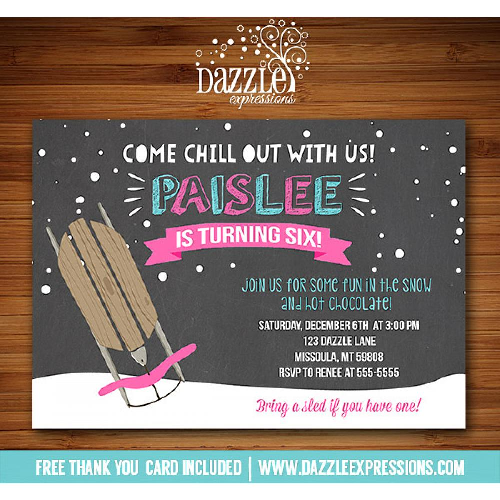 Printable Winter Sledding Chalkboard Birthday Invitation Girls Sled
