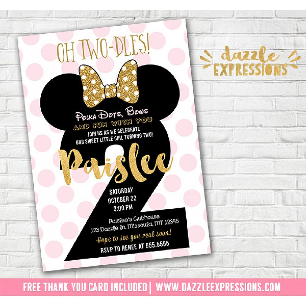 birthday invitation card minnie mouse