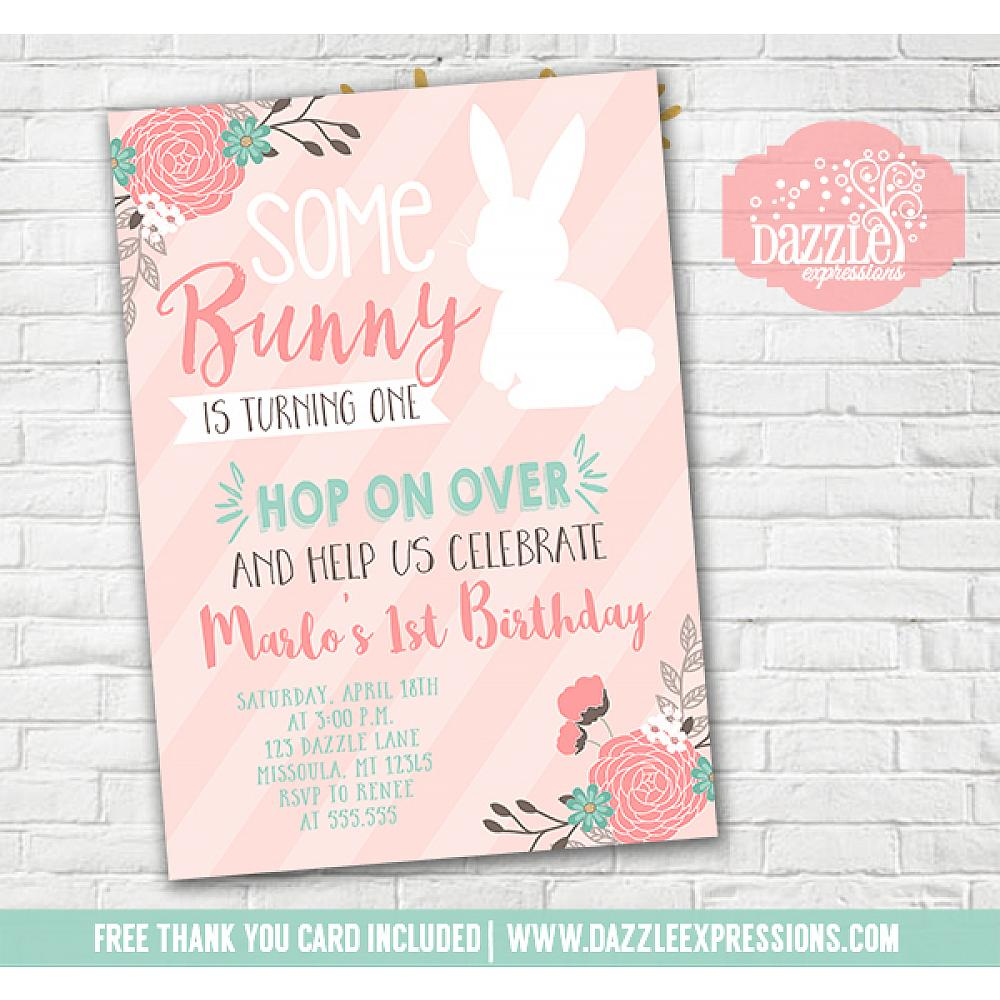 Printable Some Bunny Rabbit Birthday Invitation Spring Floral Easter