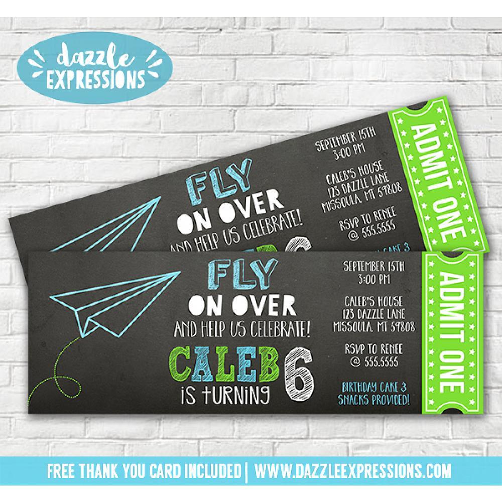 Printable Paper Airplane Chalkboard Ticket Birthday Invitation