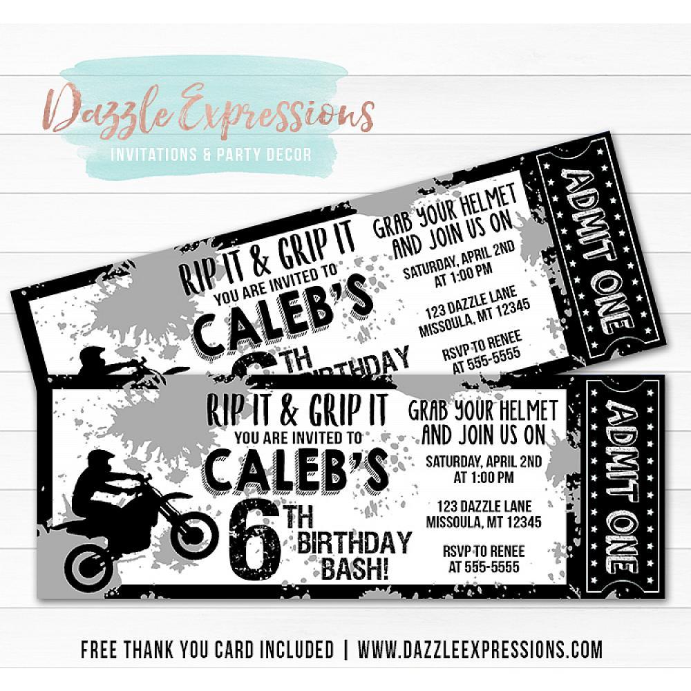Dirt Bike Ticket Invitation