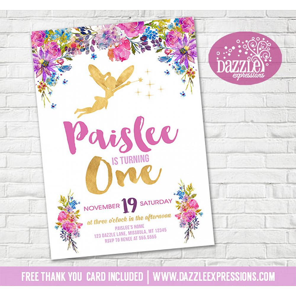 Floral And Gold Fairy Invitation 2