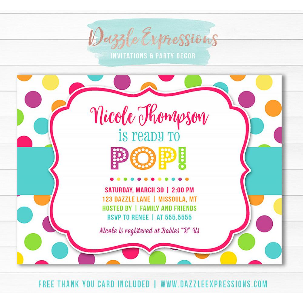 Ready To Pop Baby Shower Invitation 1 Free Thank You Card Included