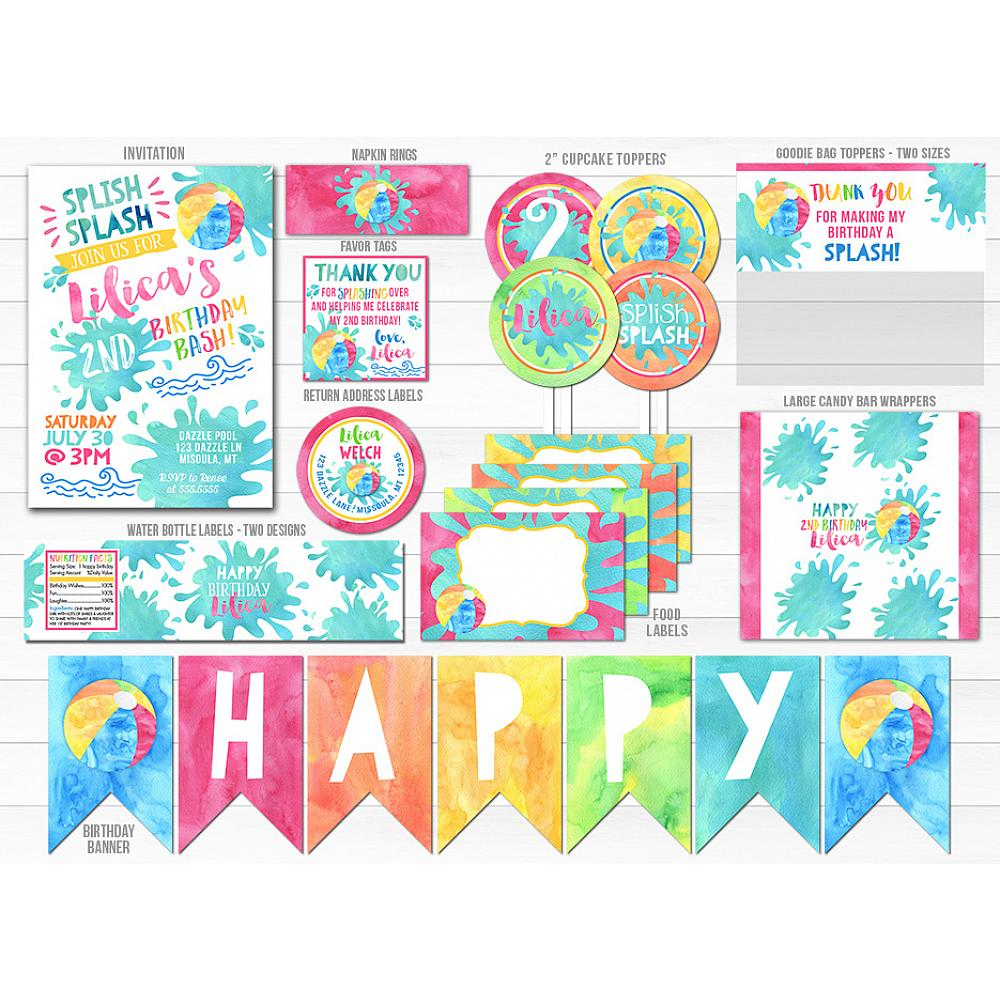 Pool Girl Watercolor Complete Party Package