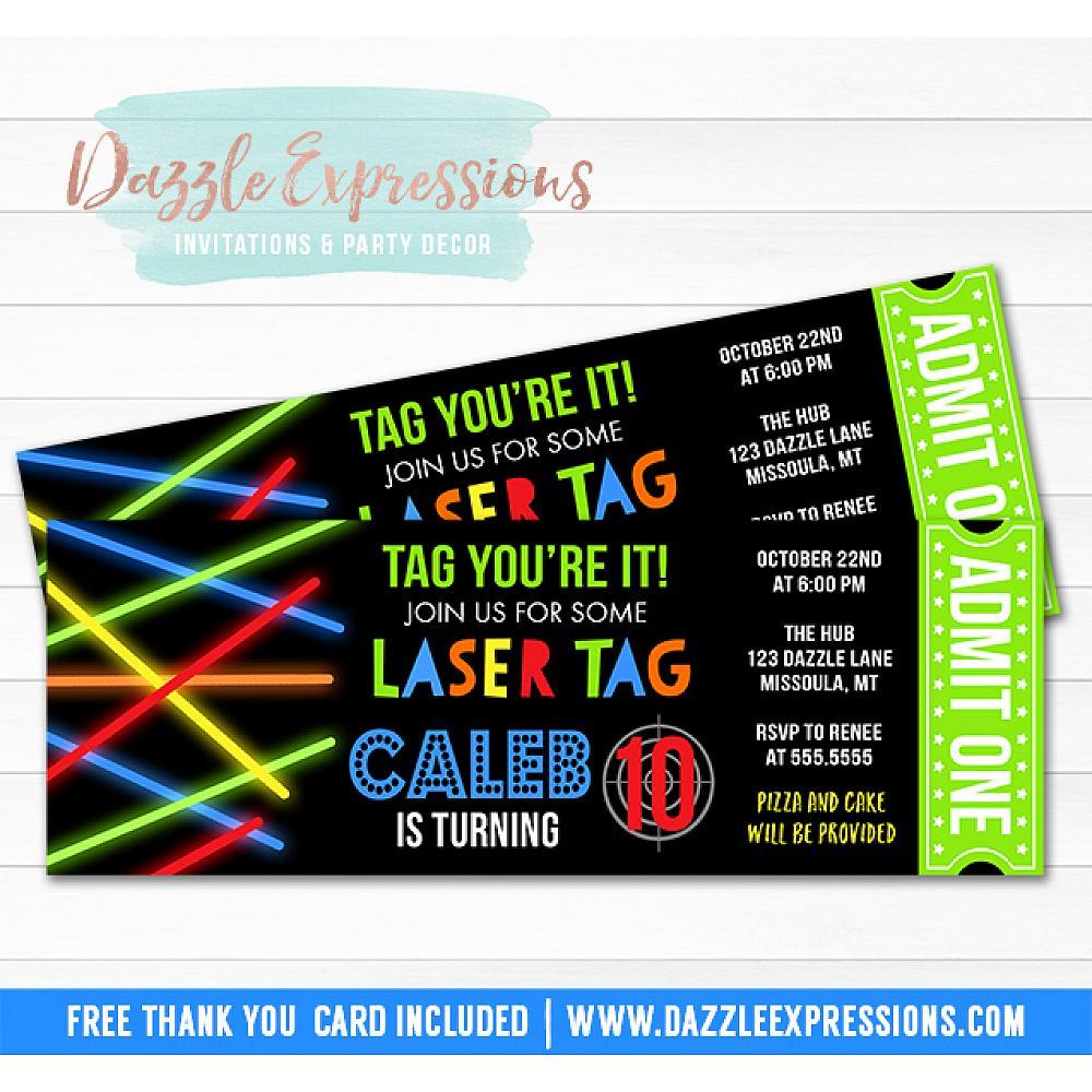 Laser Tag Ticket Invitation 1