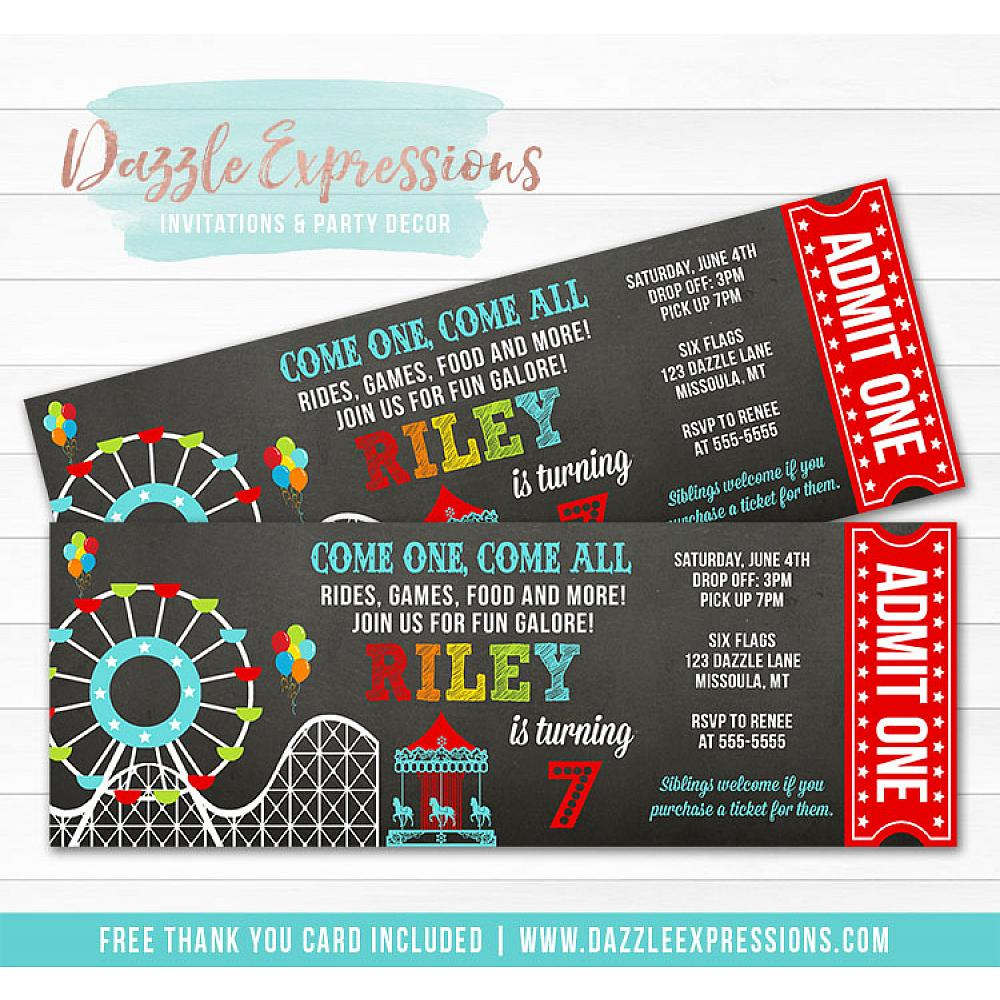 Amusement Park Chalkboard Ticket Invitation 1