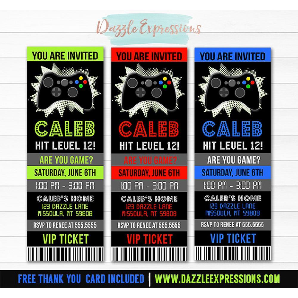 Video Game Ticket Invitation