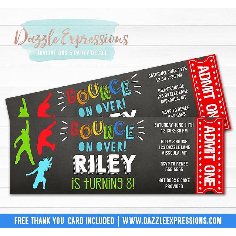 Printable Bounce House Party Chalkboard Ticket Birthday Invitation