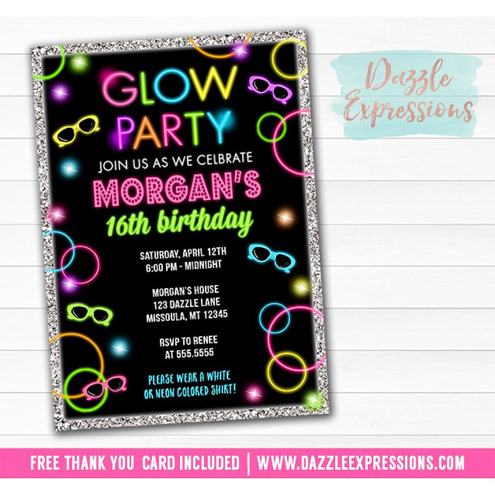 Glow In The Dark Birthday Invitation 1
