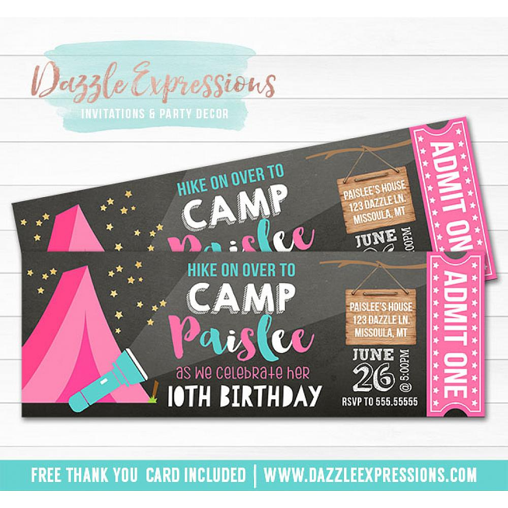 Printable Camping Chalkboard Ticket Birthday Invitation