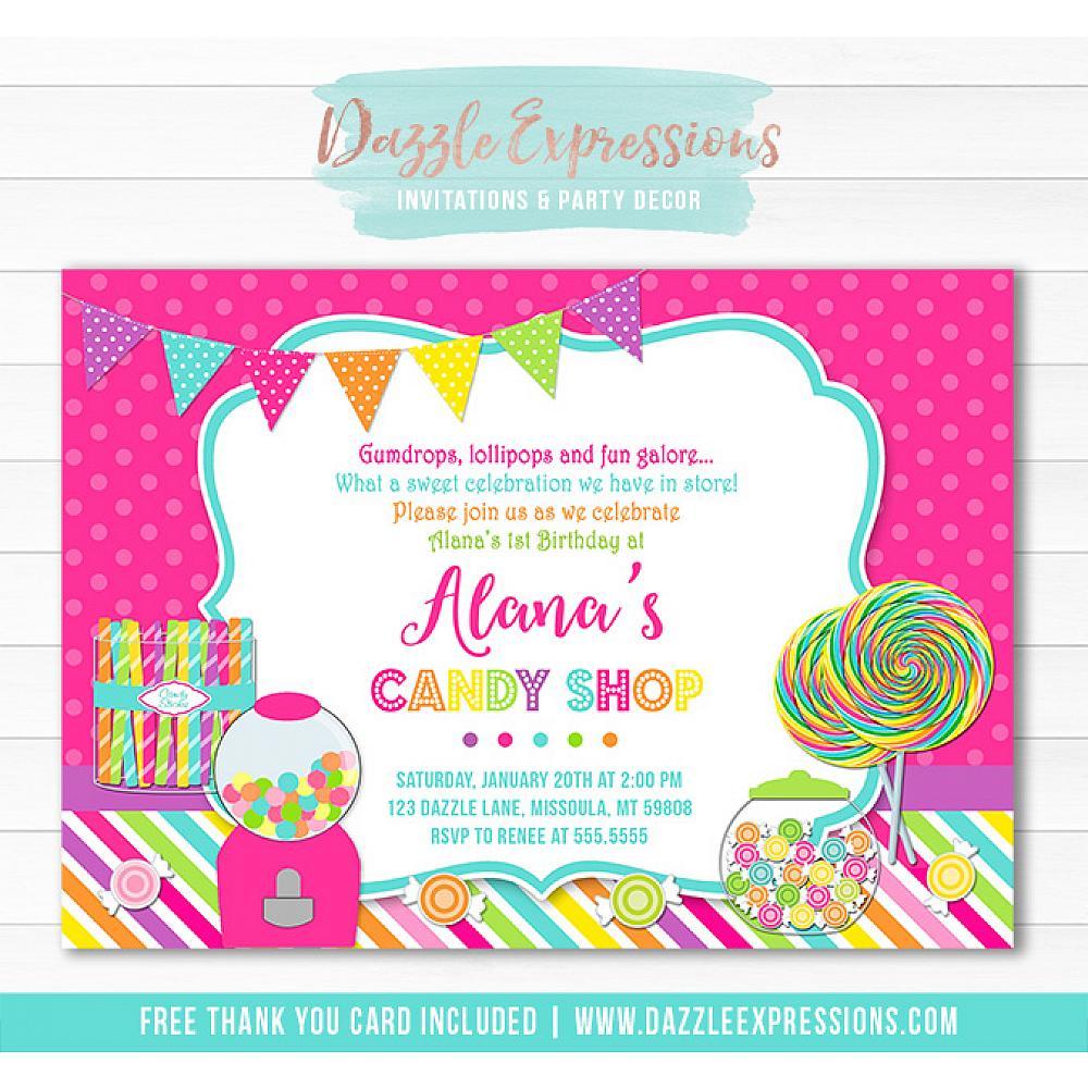 Printable Candy Buffet Birthday Invitation Sweet Shop Lollipop Girl