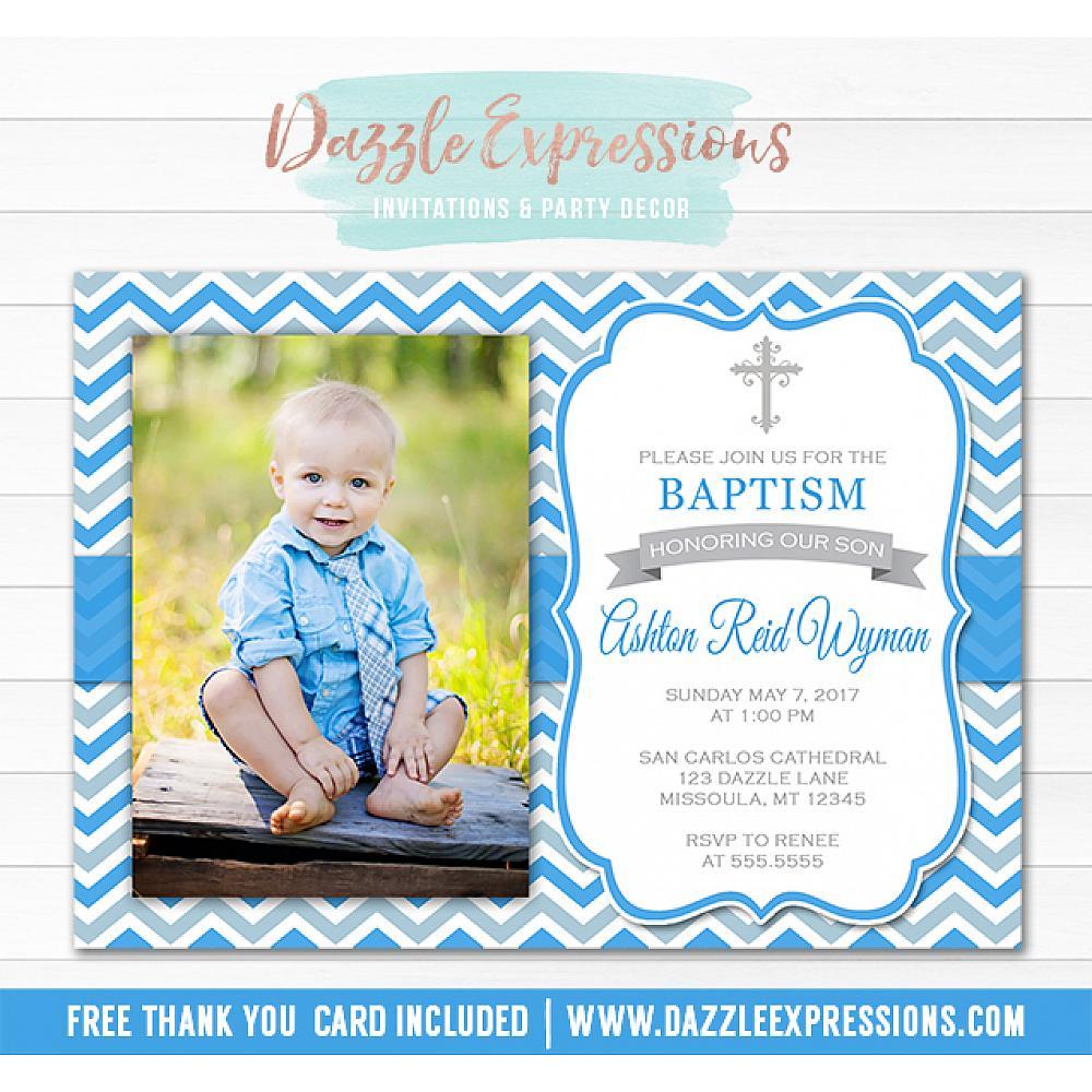 Printable Baby Boy Baptism Invitation Christening Religious Invitation