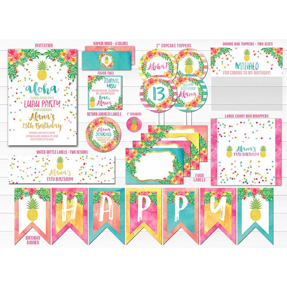Printable Pineapple Luau Birthday Party Package Hawaiian Party