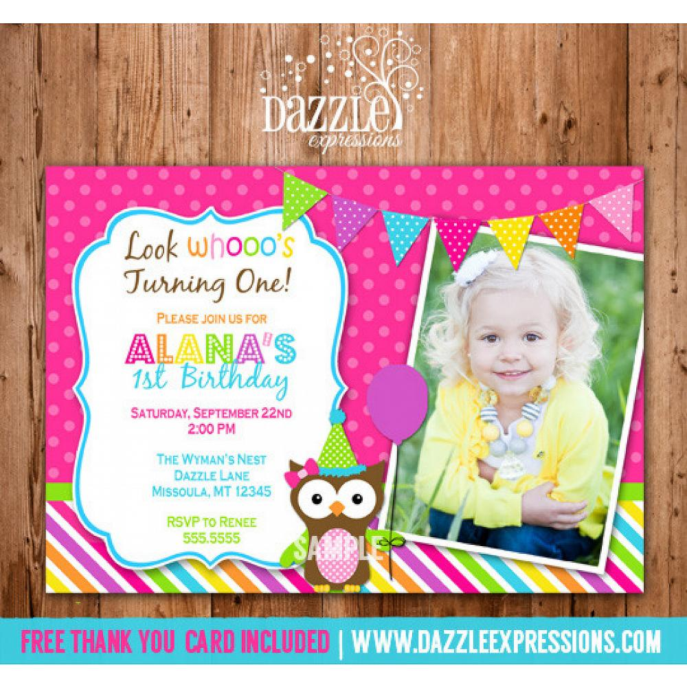 Owl Birthday Invitation 2