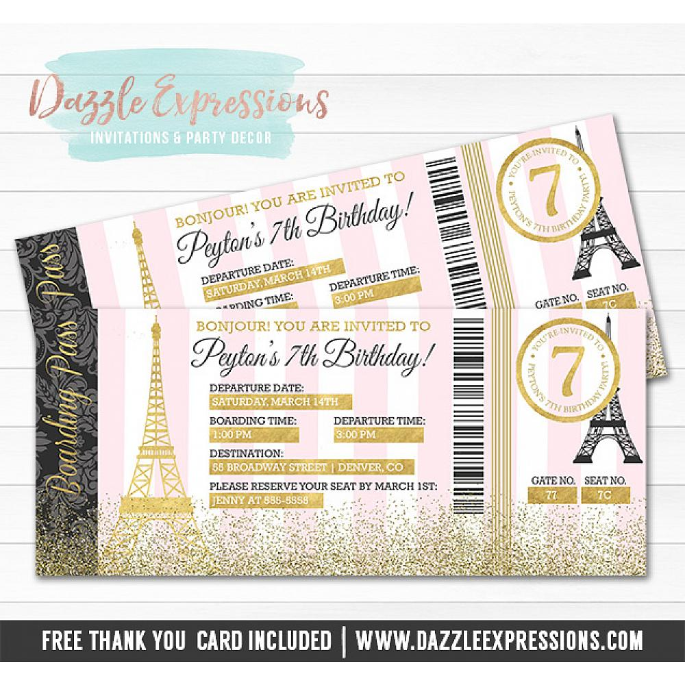 Printable Pink And Gold Paris Boarding Pass Invitation Paris France