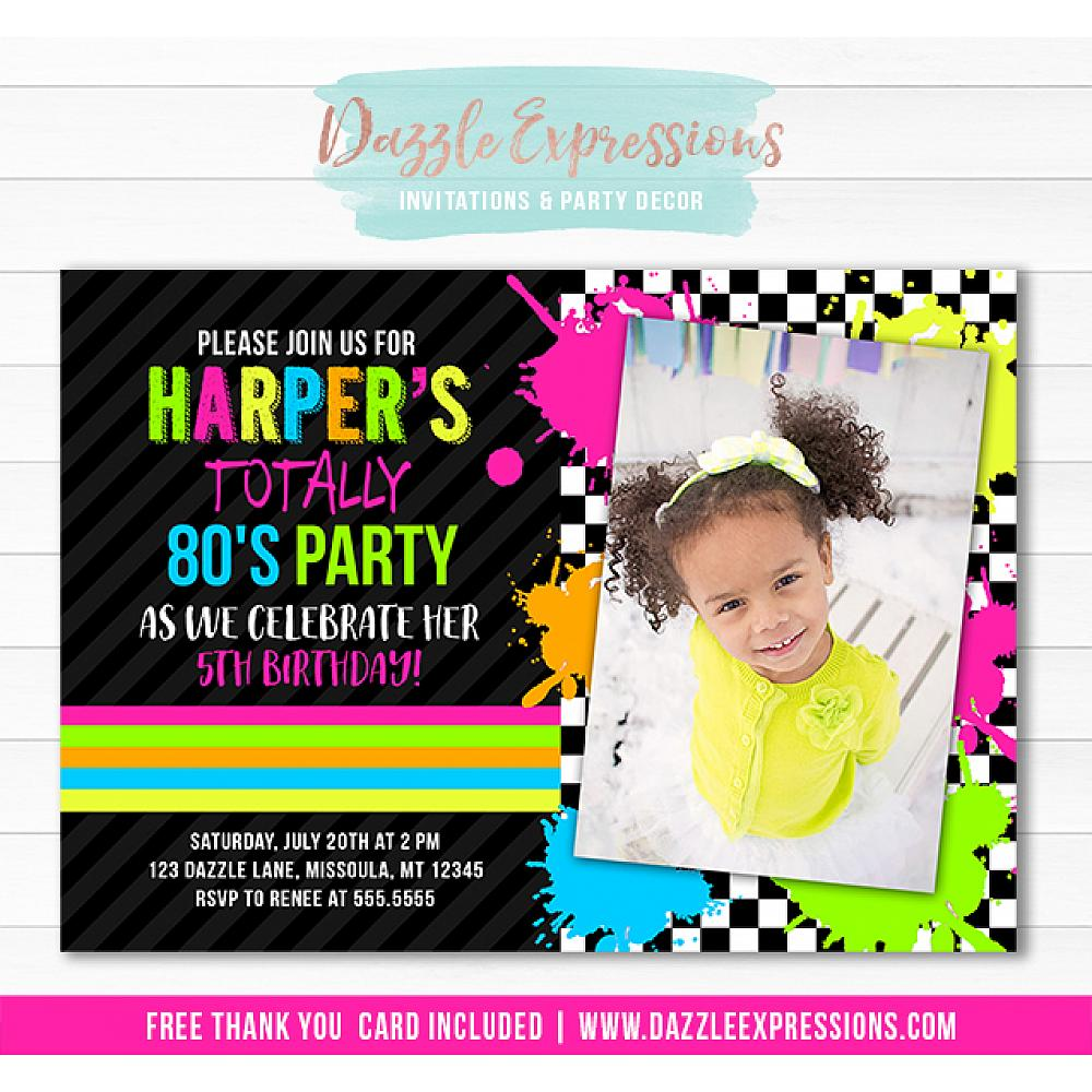 Totally 80s Birthday Invitation