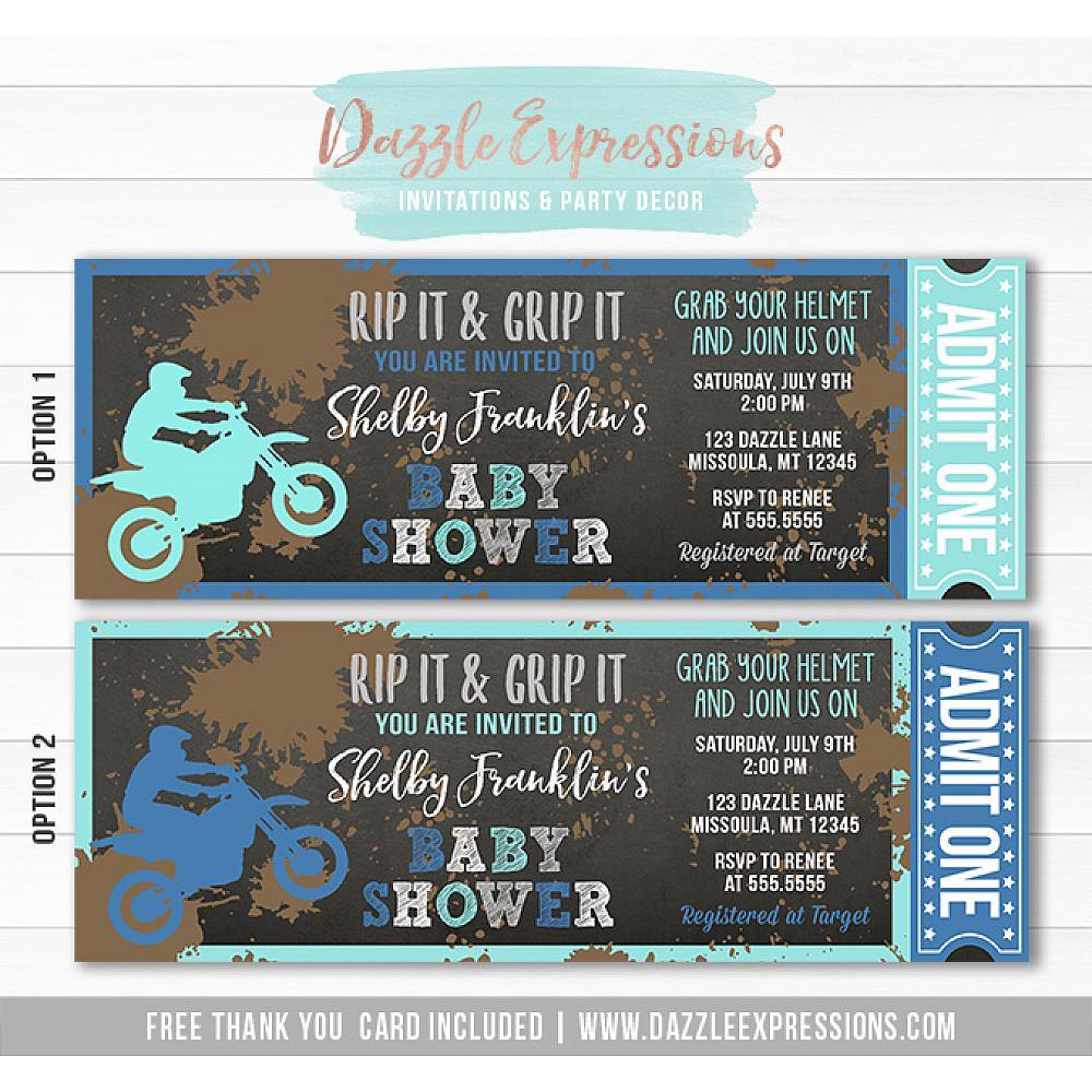 Dirt Bike Chalkboard Baby Shower Ticket Invitation