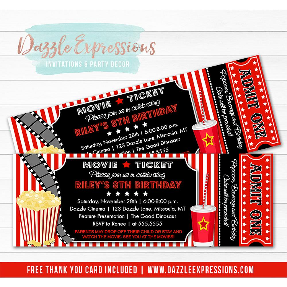 Printable Movie Ticket Birthday Invitation Movie Night Movie Event