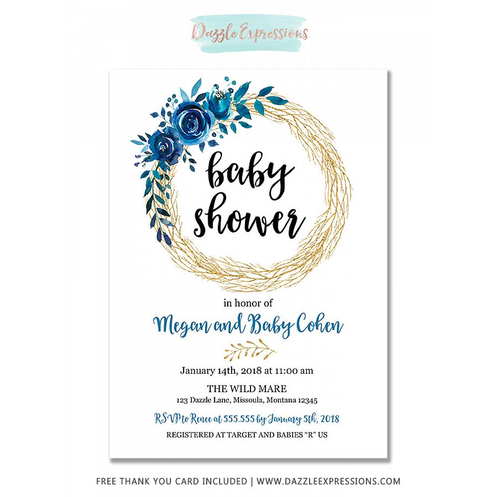 Printable Blue And Gold Floral Wreath Baby Shower Invitation Baby