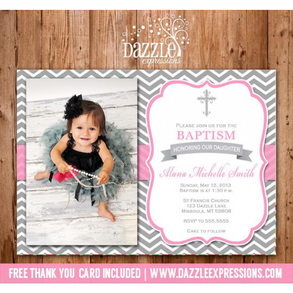 Printable Girl Baptism Or Christening Invitation Pink And Gray