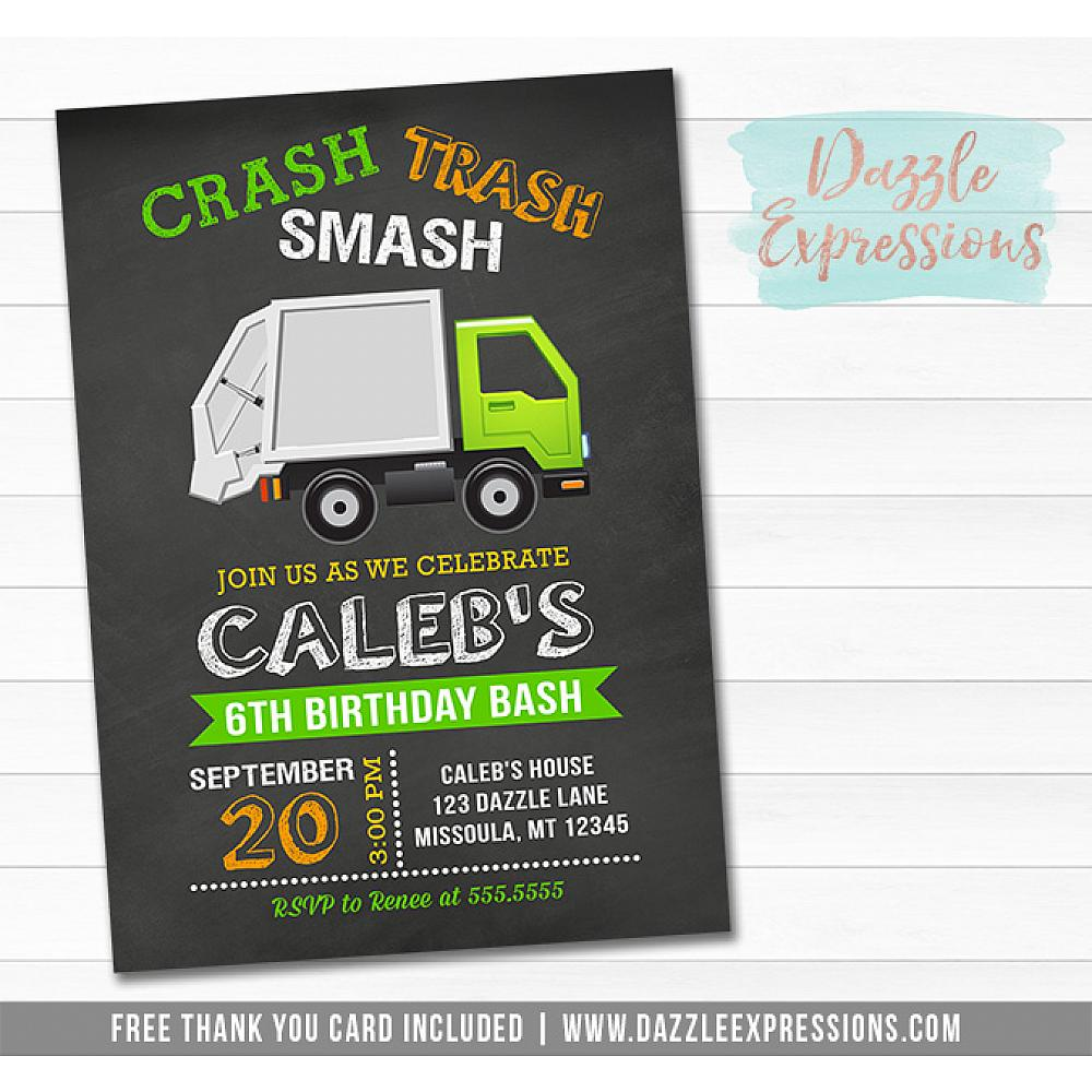 Printable Garbage Truck Chalkboard Birthday Invitation