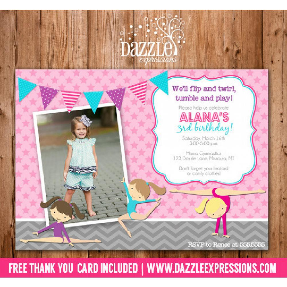 Gymnastics Birthday Invitation 1