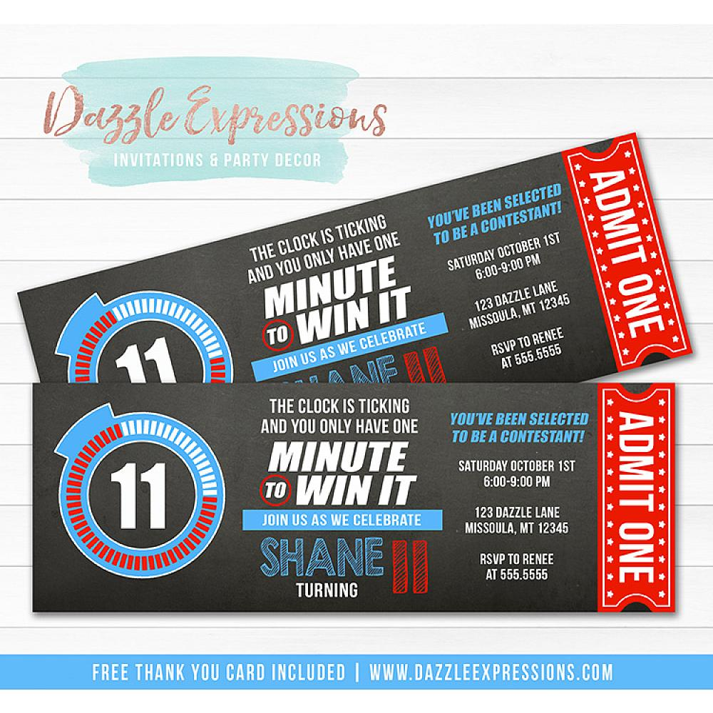 Minute To Win It Inspired Ticket Birthday Invitation Free Thank You Card
