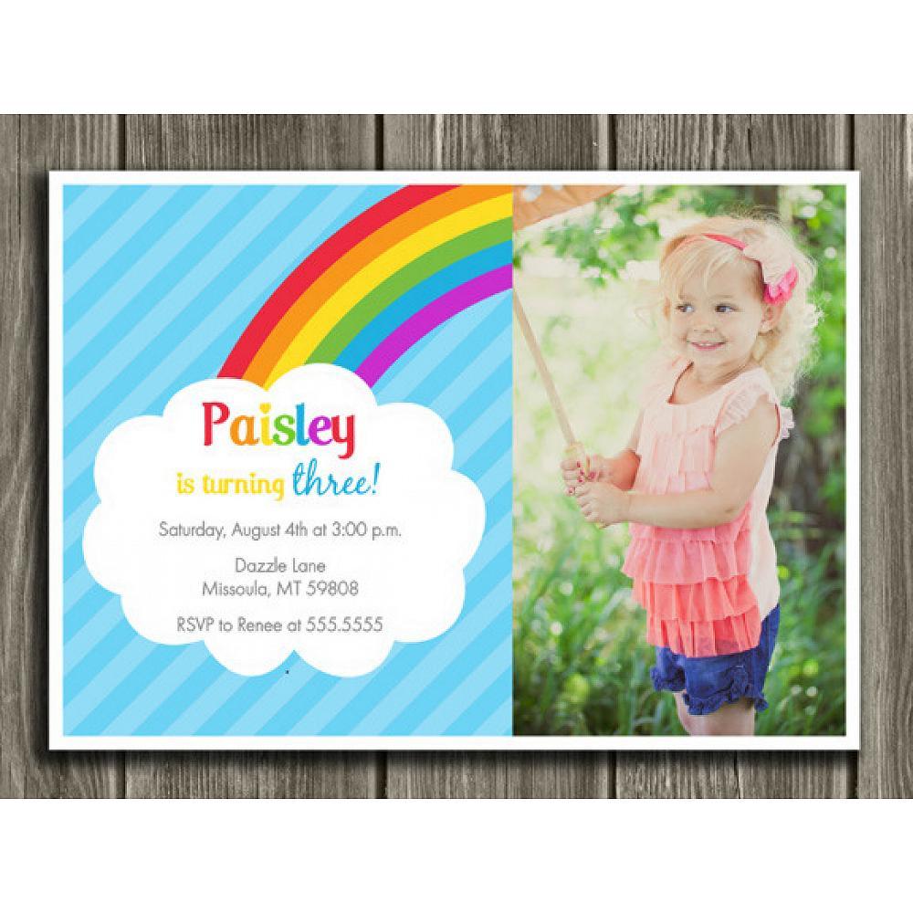 Rainbow Birthday Invitation 1