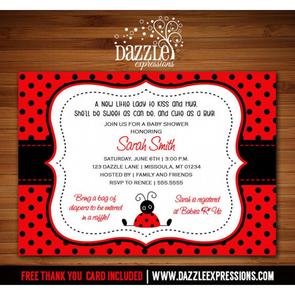 Ladybug Baby Shower Invitation - Thank You Card Included