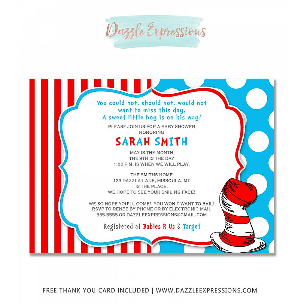 Dr. Seuss Inspired Baby Shower Invitation - FREE Thank You Card Included
