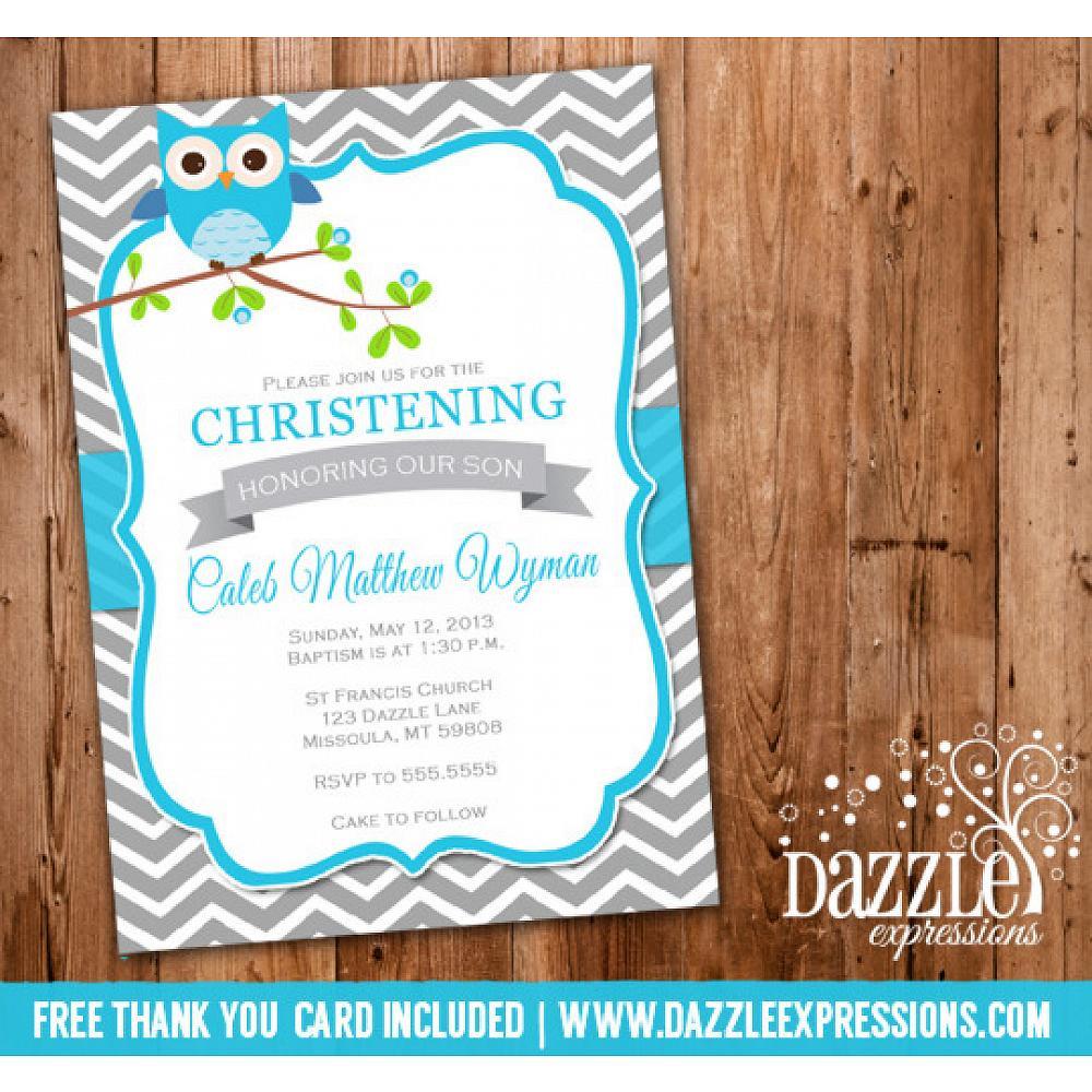 Boy Owl Christening Or Baptism Invitation Free Thank You Card