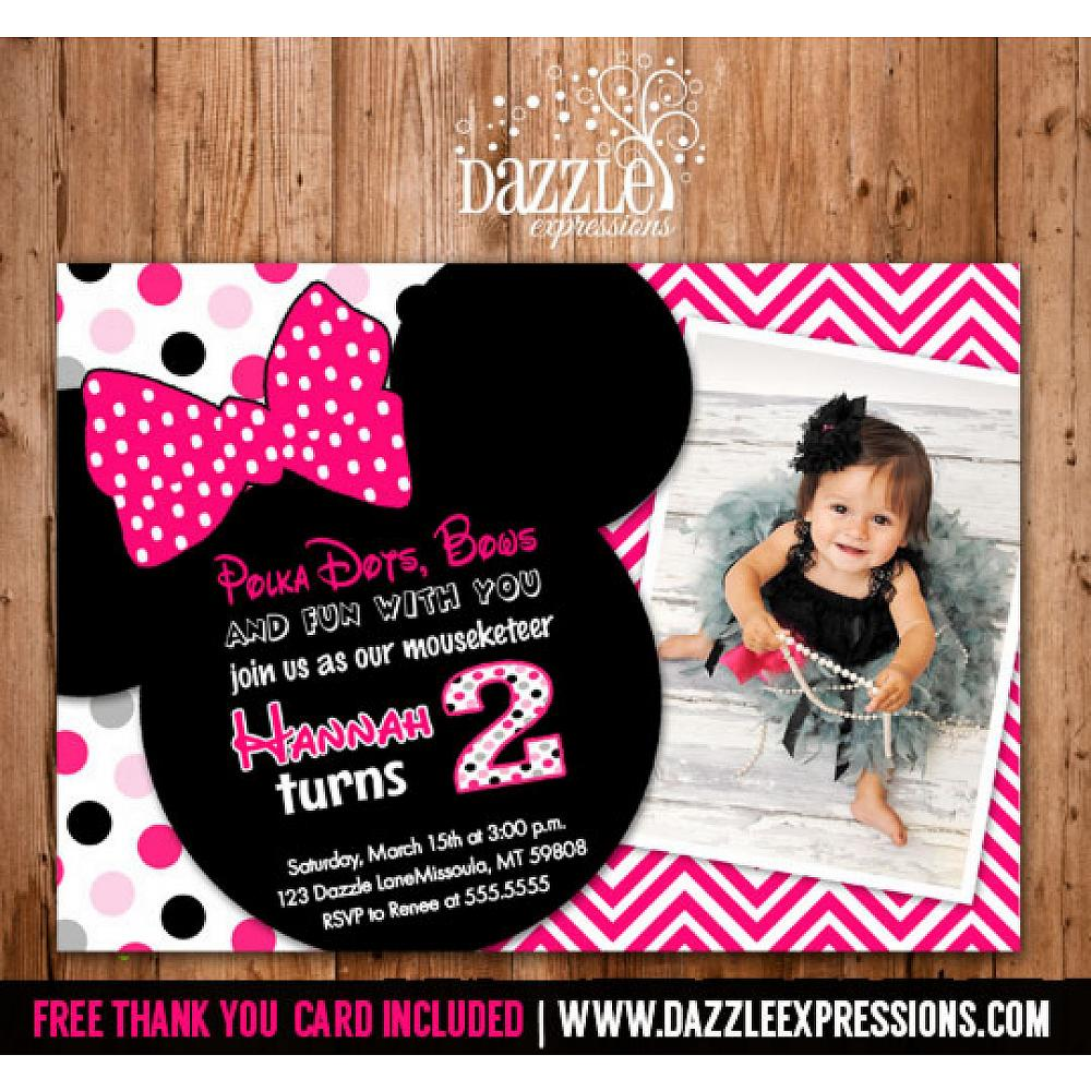 Minnie Mouse Inspired Birthday Invitation 4 Free Thank You Card