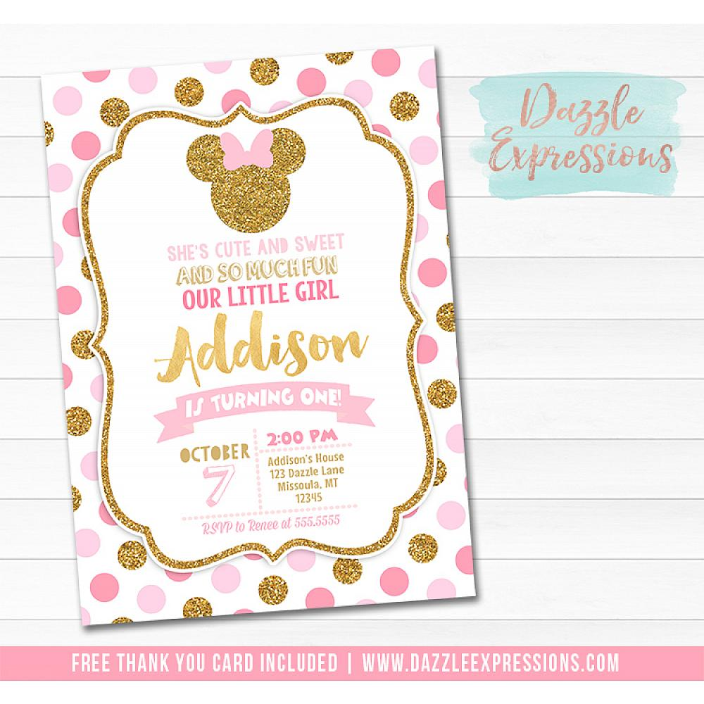 Minnie Mouse Inspired Birthday Invitation 5