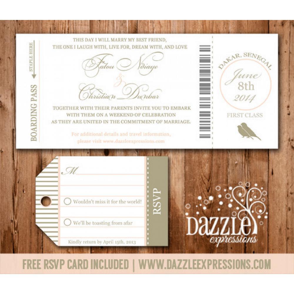 Boarding Pass Wedding Invitations.Boarding Pass Wedding Invitation Rsvp Card Included