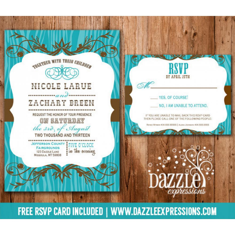 Western Turquoise And Brown Wedding Invitation