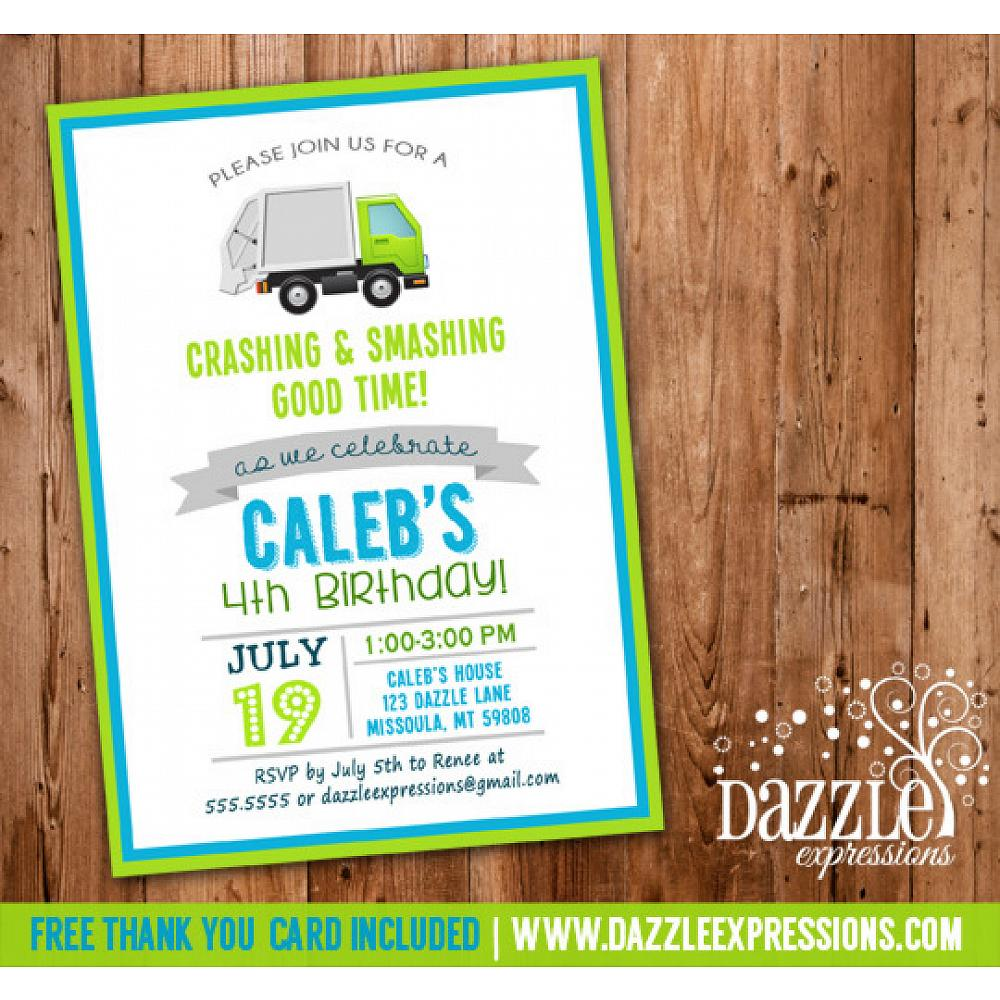Printable Kids Modern Garbage Truck Birthday Invitation