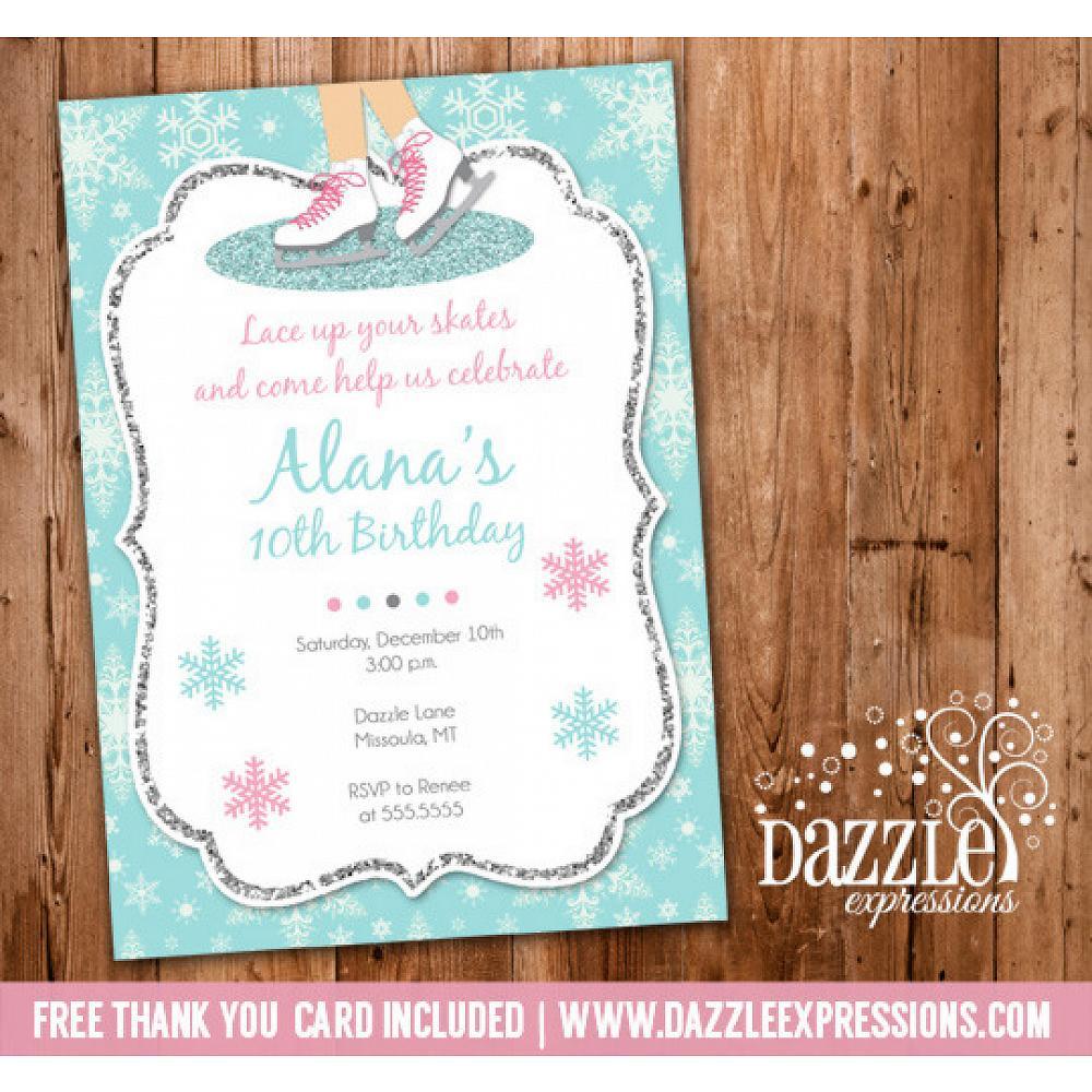 Printable Glitter Ice Skating Birthday Party Invitation