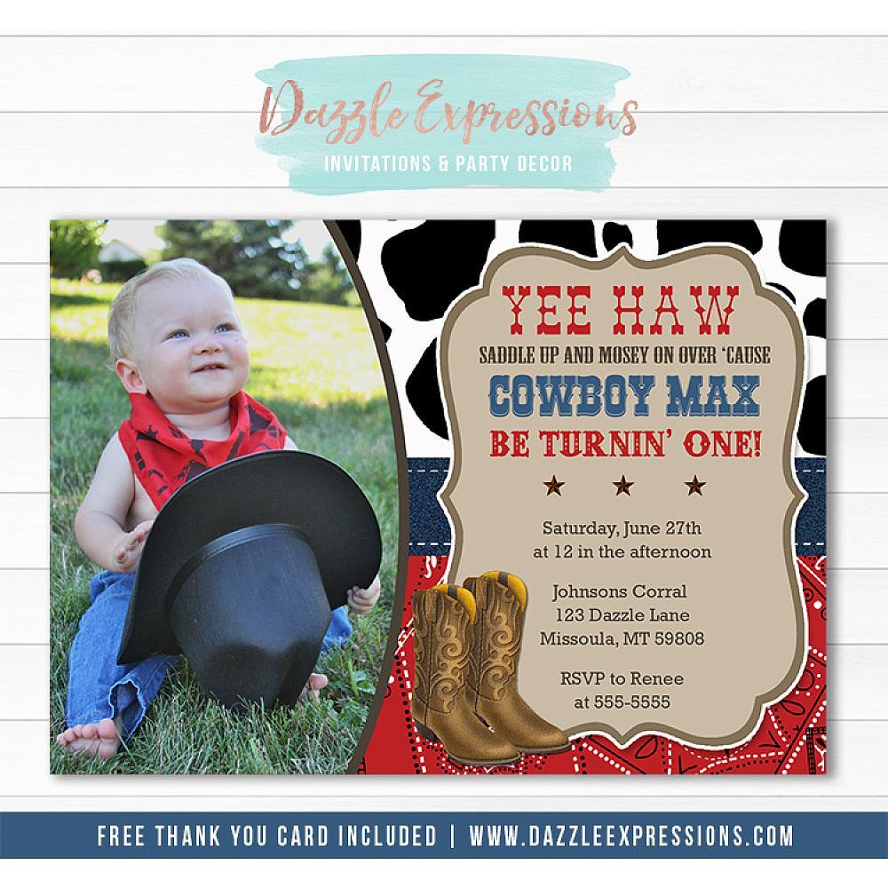 Printable Western Cowboy Birthday Photo Invitation