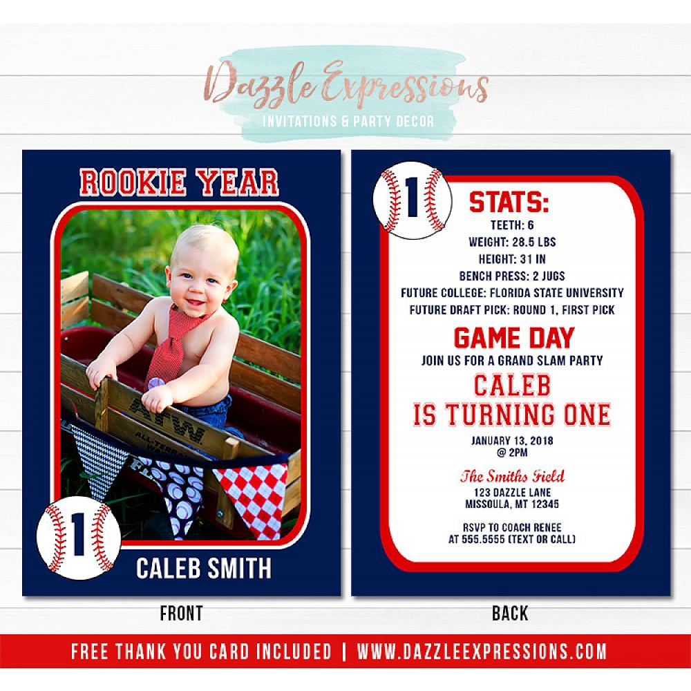 Baseball Card Stats Birthday Invitation