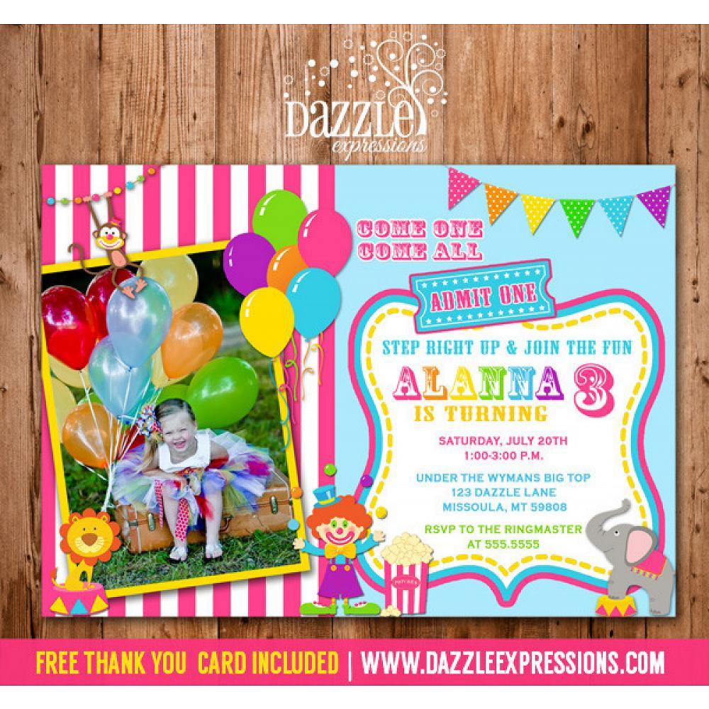 Circus Or Carnival Birthday Invitation 5