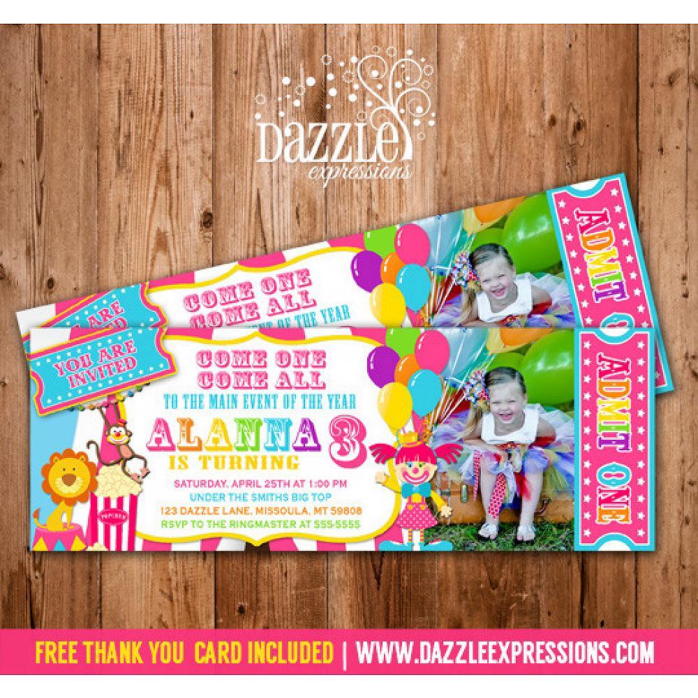 Printable Pink Circus Ticket Birthday Photo Invitation