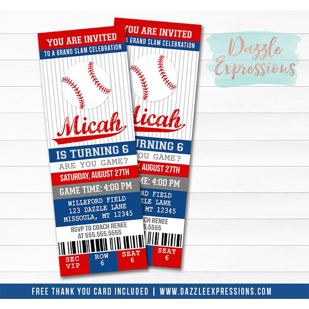 Baseball Ticket Birthday Invitation 4