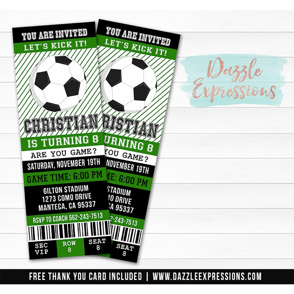 Printable Soccer Birthday Ticket Invitation Futbol Ticket