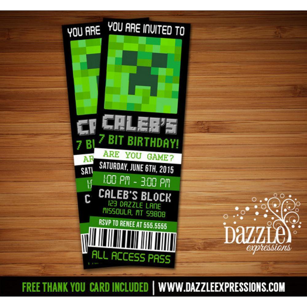 Printable Minecraft Inspired Ticket Birthday Invitation Digital File
