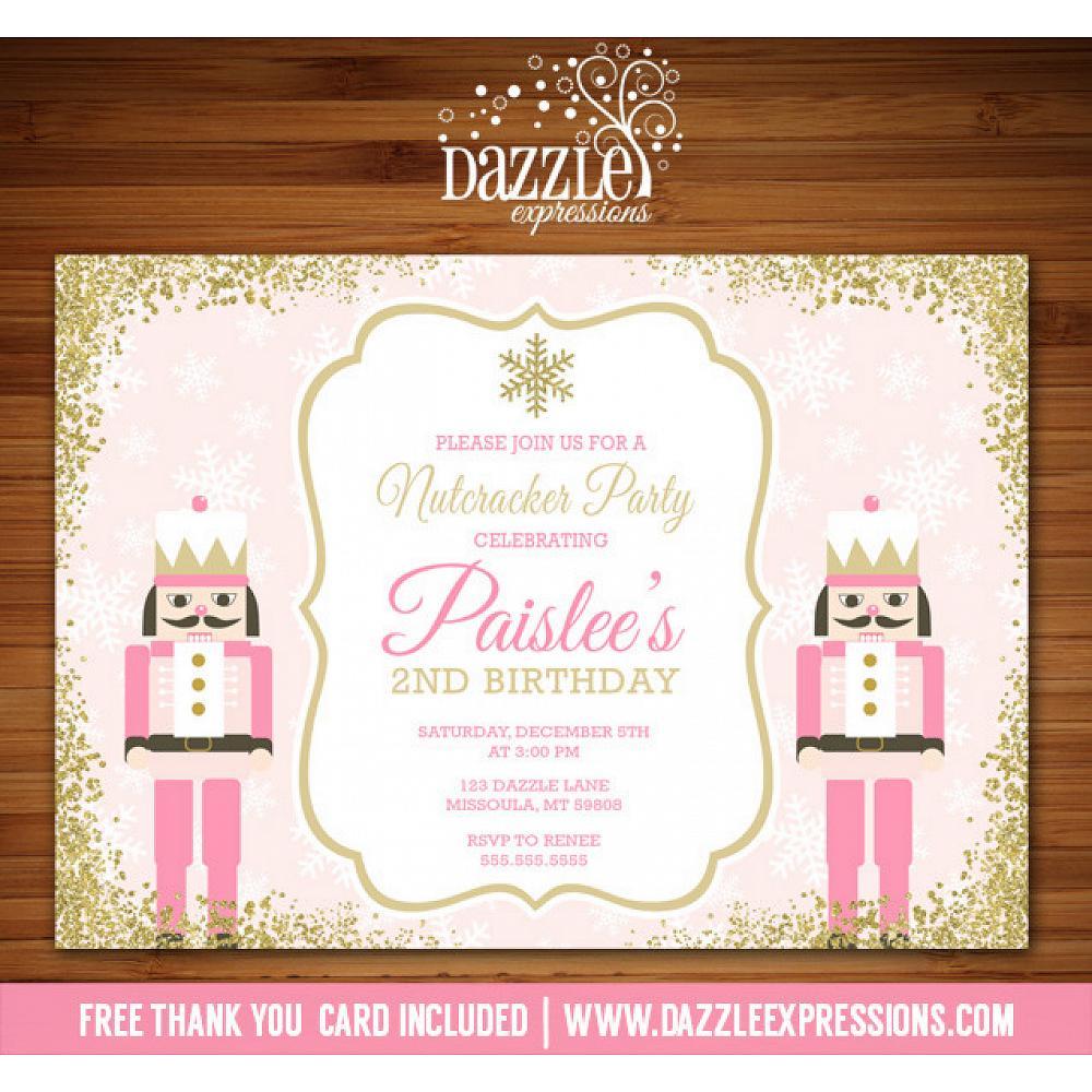 Pink And Gold Glitter Nutcracker Birthday Invitation